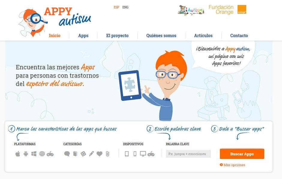 Página de inicio de la web Appyautism