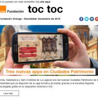 Portada newsletter de Fundación Orange de diciembre 2015