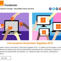portada newsletter de Fundación Orange de marzo 2016