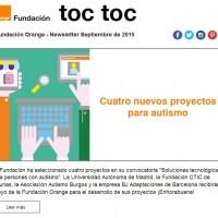 portada newsletter de Fundación Orange de septiembre 2015