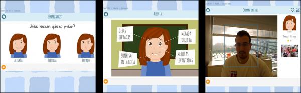 Ejemplo de pantallas del programa EmoPLAY