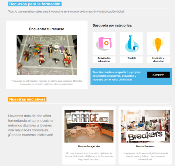 pantallazo plataforma Fablabs Sociales